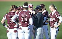 NWA Democrat-Gazette/ANDY SHUPE<br /> Arkansas Mississippi State Friday, March 30, 2018, during the inning at Bogle Park in Fayetteville. Visit nwadg.com/photos to see more photographs from the game.
