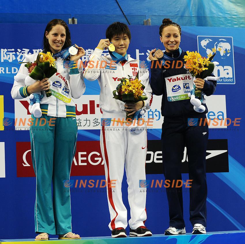 Alicia COUTTS Australia Silver Medal, Shiwen YI China Gold Medal, Ariana KUKORS USA Bronze Medal.Women's 200m Individual MEdley - Swimming / Nuoto.Shanghai 25/7/2011 .14th FINA World Championships.Foto Andrea Staccioli Insidefoto