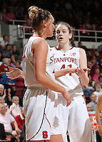 STANFORD, CA - February 12, 2011: Stanford Cardinal's Bonnie Samuelson and Joslyn Tinkle during Stanford's 82-59 victory over UCLA at Maples Pavilion.