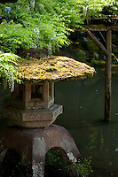 Wisteria and a stone lantern at a pond in the delightfully scenic Kenrokuen Garden, Kanazawa, Japan.