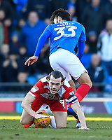 John Marquis of Doncaster Rovers falls on the ball after tangling with Ben Close of Portsmouth during Portsmouth vs Doncaster Rovers, Sky Bet EFL League 1 Football at Fratton Park on 2nd February 2019