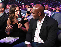 DALLAS, TX - MARCH 16: Fox's Heidi Androl interviews Evander Holyfield at the Errol Spence Jr. vs Mikey Garcia IBF  World Welterweight Championship at the Fox Sports PBC Pay-Per-View fight night at AT&T Stadium on March 16, 2019 in Dallas, Texas. (Photo by Frank Micelotta/Fox Sports/PictureGroup)