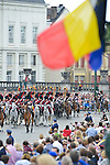 Royal Horse Gard on the occasion of today's Belgian National Day, perhaps the last view for restriction of budget.<br /> Brussels, 21 July 2015, Belgium