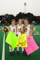 Stanford, CA - NOVEMBER 1:  Forward Hillary Braun #8, defender Bailey Richardson #12, and forward Chloe Bade #17 of the Stanford Cardinal during Stanford's 2-1 win against the California Golden Bears on November 1, 2008 at the Varsity Field Hockey Turf in Stanford, California.