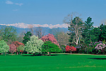 A spring view of City Park with the Rocky Mountains in the background in Denver, Colorado.