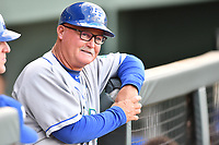 Bench coach Glenn Hubbard (17) of the Lexington Legends during a game against the Greenville Drive on Wednesday, April 12, 2017, at Fluor Field at the West End in Greenville, South Carolina. Greenville won, 4-1. (Tom Priddy/Four Seam Images)