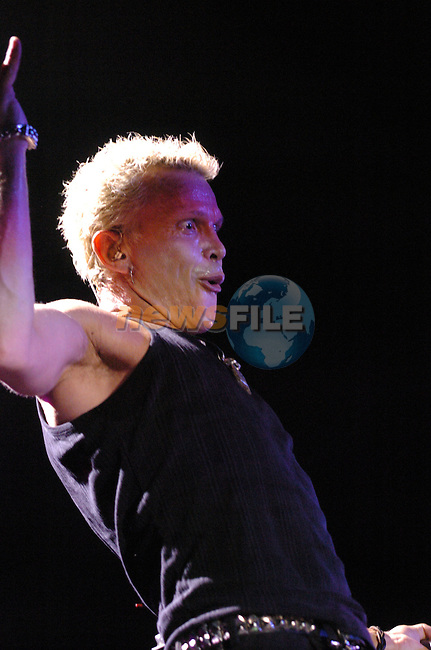 Billy Idol on stage in the Point Depot in Dublin...Photo NEWSFILE/Colin Bell.(Photo credit should read Colin Bell/NEWSFILE)....This Picture has been sent you under the condtions enclosed by:.Newsfile Ltd..The Studio,.Millmount Abbey,.Drogheda,.Co Meath..Ireland..Tel: +353(0)41-9871240.Fax: +353(0)41-9871260.GSM: +353(0)86-2500958.email: pictures@newsfile.ie.www.newsfile.ie.FTP: 193.120.102.198..