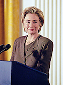 First lady Hillary Rodham Clinton makes remarks during an event hosted by her and U.S. President Bill Clinton in the East Room of the White House advocating expanded use of the internet to place adoptions in Washington, D.C. on November 24, 1998. <br /> Credit: Ron Sachs / CNP