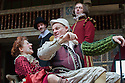 London, UK. 27.06.2015. Shakespeare's Globe presents MEASURE FOR MEASURE, by William Shakespeare, directed by Dominic Dromgoole. Picture shows: Petra Massey (Mistress Overdone), Trevor Fox (Pompey). Photograph © Jane Hobson.