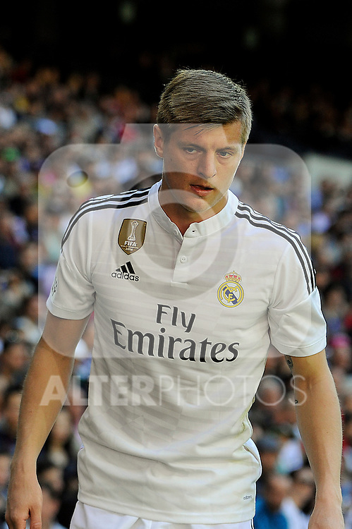 Real Madrid´s Toni Kroos during 2014-15 La Liga match between Real Madrid and Granada at Santiago Bernabeu stadium in Madrid, Spain. April 05, 2015. (ALTERPHOTOS/Luis Fernandez)
