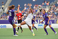 Orlando, FL - Saturday Sept. 24, 2016: Alex Morgan, Desiree Scott, Kristen Edmonds during a regular season National Women's Soccer League (NWSL) match between the Orlando Pride and FC Kansas City at Camping World Stadium.