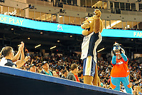 7 March 2012:  FIU's mascot, Roary, and the Miami Marlins' mascot, Billy the Marlin, fire up the crowd late in the game as the Miami Marlins defeated the FIU Golden Panthers, 5-1, at Marlins Park in Miami, Florida.