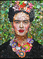 BNPS.co.uk (01202 558833)<br /> Pic: Bluebowerbird/BNPS<br /> <br /> Self portrait by 20th century artist Frida Kahlo.<br /> <br /> PopArt - Artist Jane Perkins recreates famous people and paintings from recycled plastic rubbish.<br /> <br /> Her stunning 'Plastic Classics' generate the most interest and sell for thousands of pounds.<br /> <br /> She has created rubbish replica's of famous paiintings by Van Gogh's, Monet, Raphael, Gustav Klimt, Salvi and Frida Kahlo as well as Japanese artist Katsushika Hokusai's the Great Wave of Kanagawa.<br /> <br /> She also creates pictures of animals for private commissions. For example, a stunning work of a tiger's head is made up of objects like plastic toy animals, golf tees and beads.<br /> <br /> Jane, a former hospital nurse from Kenton, near Exeter, Devon, now sells her work for up to &pound;2,500 a go.<br /> <br /> She said: &quot;I go to car boot sales and buy anything that is plastic, mostly toys and bits of broken jewellery, anything small. The neighbours often give me bags of bits and pieces they no longer want. <br /> <br /> &quot;People love them because they can see the whole image but also see what is in it. They can find things in them that they recognise, like little bits from their childhood.