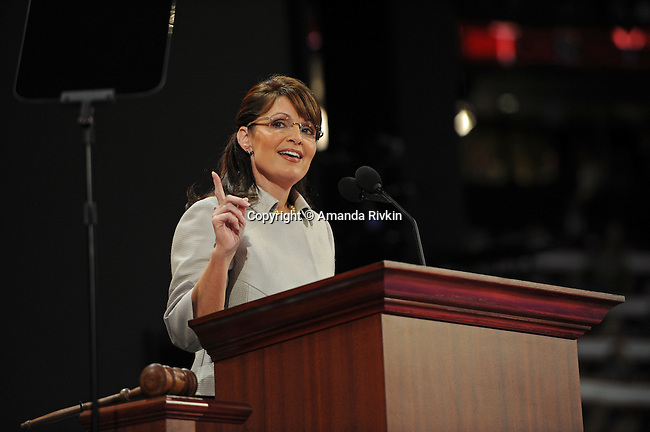 Alaska Governor and Republican Vice-Presidential Nominee Sarah Palin accepts the vice-presidential nomination on the third day of the Republican National Convention at the XCel Center in Saint Paul, Minnesota on September 3, 2008.