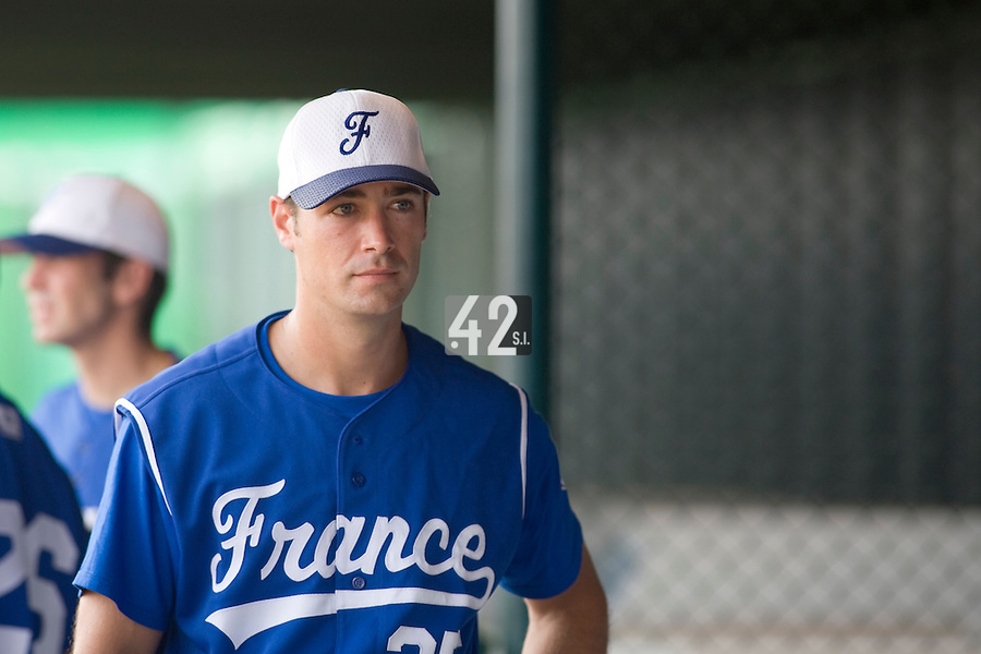 18 August 2007: DH #25 Jerome Rousseau is seen in the dugout prior to the China 5-1 victory over France in the Good Luck Beijing International baseball tournament (olympic test event) at the Wukesong Baseball Field in Beijing, China.