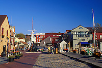 Newport, Rhode Island, RI, Shops along the cobblestone street at Bowen's Wharf in Newport in the autumn.