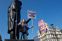 BREXIT Protesters in Parliament Square on the day the UK was due to leave Europe in London on 29 March 2019. Photo by Alan  Stanford.
