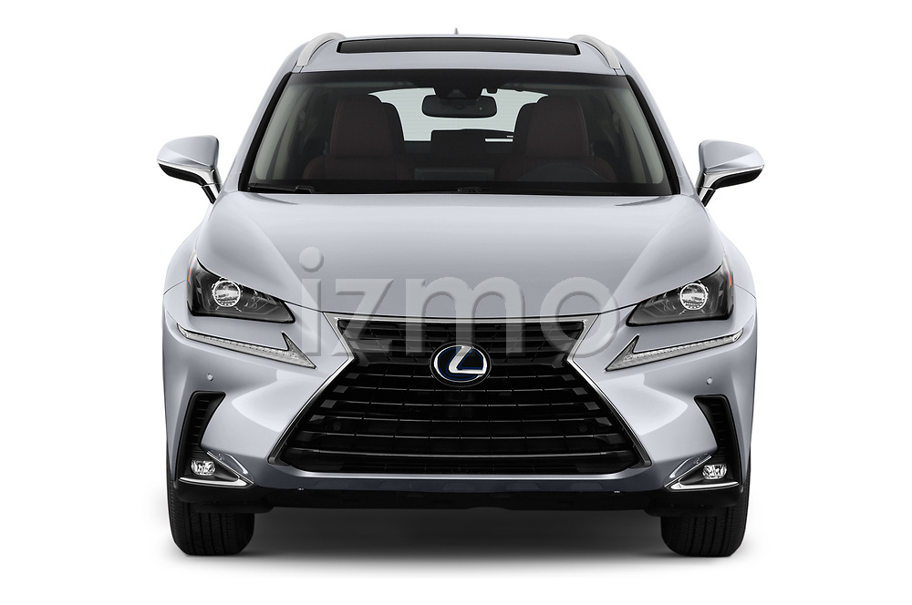 Car photography straight front view of a 2020 Lexus NX 300h 5 Door SUV Front View
