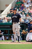 New York Yankees first baseman Luke Voit (45) at bat during a Grapefruit League Spring Training game against the Detroit Tigers on February 27, 2019 at Publix Field at Joker Marchant Stadium in Lakeland, Florida.  Yankees defeated the Tigers 10-4 as the game was called after the sixth inning due to rain.  (Mike Janes/Four Seam Images)