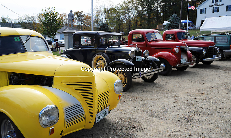 Antique Cars on Display at the Harvest Festival in the Village of Marlow, New Hampshire USA