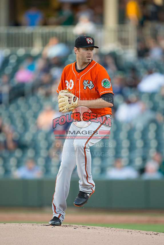 Baltimore Orioles pitcher Chris Tillman (30) makes a rehab start for the Norfolk Tides against the Charlotte Knights at BB&T BallPark on May 2, 2017 in Charlotte, North Carolina.  The Knights defeated the Tides 8-3.  (Brian Westerholt/Four Seam Images)