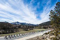 Picture by Alex Broadway/SWpix.com - 09/03/2018 - Cycling - 2018 Paris Nice - Stage Six - Sisteron to Vence - The peloton rides through the French countryside.<br /> <br /> NOTE : FOR EDITORIAL USE ONLY. THIS IS A COPYRIGHT PICTURE OF ASO. A MANDATORY CREDIT IS REQUIRED WHEN USED WITH NO EXCEPTIONS to ASO/Alex Broadway MANDATORY CREDIT/BYLINE : ALEX BROADWAY/ASO