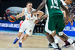 Real Madrid Fabien Causeur and Panathinaikos James Gist during Turkish Airlines Euroleague Quarter Finals 3rd match between Real Madrid and Panathinaikos at Wizink Center in Madrid, Spain. April 25, 2018. (ALTERPHOTOS/Borja B.Hojas)