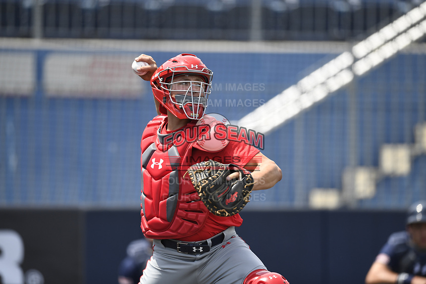 TEMPORARY UNEDITED FILE:  Image may appear lighter/darker than final edit - all images cropped to best fit print size.  <br /> <br /> Under Armour All-American Game presented by Baseball Factory on July 19, 2018 at Les Miller Field at Curtis Granderson Stadium in Chicago, Illinois.  (Mike Janes/Four Seam Images) Ethan Hearn is an outfielder from Mobile Christian High School in Mobile, Alabama committed to Mississippi State.