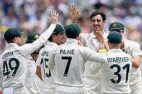 28th December 2019; Melbourne Cricket Ground, Melbourne, Victoria, Australia; International Test Cricket, Australia versus New Zealand, Test 2, Day 3; Mitchell Starc of Australia celebrates a wicket - Editorial Use