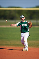Farmingdale State Rams second baseman Domenic Palumbo (14) throws to first base during the second game of a doubleheader against the FDU-Florham Devils on March 15, 2017 at Lake Myrtle Park in Auburndale, Florida.  FDU-Florham defeated Farmingdale 8-4.  (Mike Janes/Four Seam Images)