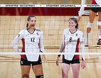 STANFORD, CA - September 2, 2010: Cassidy Lichtman (8) and Stephanie Browne (12) during a volleyball match against UC Irvine in Stanford, California. Stanford won 3-0.