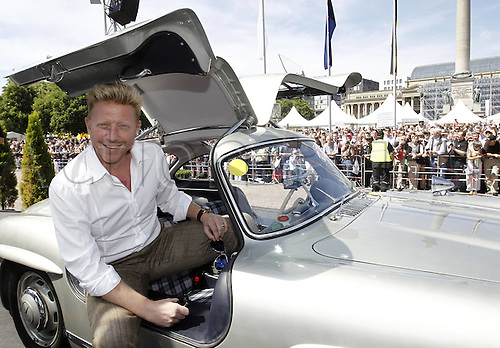 08.05.2011 08 05 2011  Birthday Corso through The City Stuttgart with Total 125 selected Vehicles the Brands Mercedes Benz Porsche and Audi during the Celebrations 125 Years Automobile Boris Becker in Mercedes 300SL