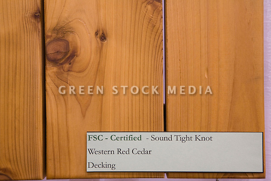 Close-up of Forest Stewardship Council (FSC) certified wood (sound tight knot, western red cedar, for decking) at the 1 Earth Forest Products display at West Coast Green. West Coast Green is the nation?s largest conference and expo dedicated to green innovation, building, design and technology. The conference featured over 380 exhibitors, 100 presenters, and 14,000 attendees. Location: San Jose Convention Center in Silicon Valley (San Jose, California, USA), September 25-27, 2008