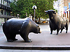 Bear and Bull in front of the German Stock Market in Frankfurt on the Main - symbols for the up and down at the financial market, 1985 by Reinhard Dachlauer (1922-1995)<br /> <br /> Oso y toro en Fr&aacute;ncfort del Meno - s&iacute;mbolos para el arriba y abajo en el mercado financiero<br /> <br /> B&auml;r und Bulle vor der Frankfurter B&ouml;rse - Symbole f&uuml;r das Auf und Ab am Finanzmarkt<br /> <br /> 1600 x 1200 px