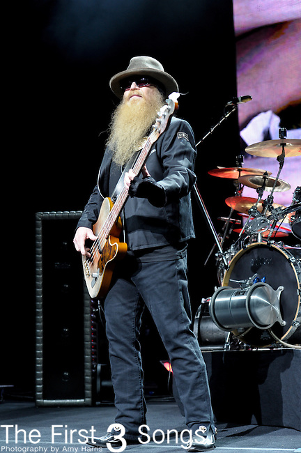 Dusty Hill of ZZ Top performs at the Riverbend Music Center in Cincinnati, Ohio.