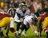 Philadelphia Eagles quarterback Nick Foles (9) calls the signals in second quarter action against the Washington Redskins at FedEx Field in Landover, Maryland on December 30, 2018.  Philadelphia Eagles center Jason Kelce (62) is holding the ball.  The Eagles won the game 24 - 0. Photo Credit: Ron Sachs/CNP/AdMedia