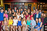 Tralee friends Louise Rael and Liz Daly (seated 4th and 5th left) both Oakpark, had a fab time celebrating their 21st birthday's in the Meadowlands Hotel, Tralee last Saturday night along with many friends and family.