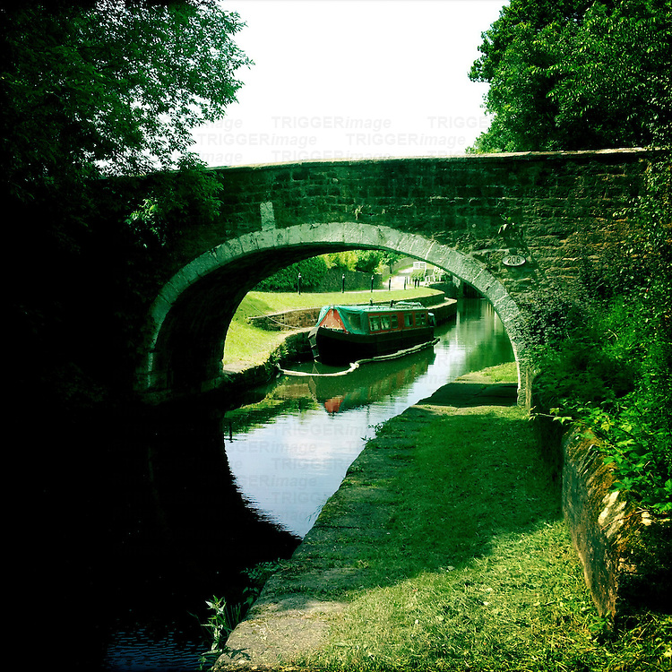 Canal Bridge on Leeds and Liverpool Canal, West Yorkshire, England
