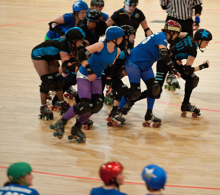 UNITED STATES - OCTOBER 2: Scare Force One skates against the All-Stars at the DC Armory during the DC Rollergirls season opener in Washington on Saturday, Oct. 2, 2010. (Photo By Bill Clark/Roll Call via Getty Images)