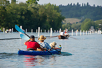 """Henley on Thames, United Kingdom, 3rd July 2018, Friday,  """"Henley Royal Regatta"""",  Canoe Double, with a Dog, sitting on the Stern Deck,  Henley Reach, River Thames, Thames Valley, England, UK."""