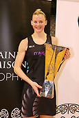 13th September 2017, Hamilton, New Zealand;  New Zealand captain Katrina Grant with the Taini Jamison trophy after the Silver Ferns win the series. Taini Jamison Trophy international netball match - Silver Ferns versus  England played at Claudelands Arena, Hamilton, New Zealand on Wednesday 13 September 2017