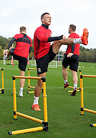 Pictured: James Chester warms up. Monday 02 October 2017<br /> Re: Wales football training, ahead of their FIFA Word Cup 2018 qualifier against Georgia, Vale Resort, near Cardiff, Wales, UK.