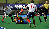 Hockey - Mens Invitational 4 Nations event at Sportscotland National Centre, Largs - Scotland V England - Scotland keeper Jamie Cachia glances the ball away to save a goal scoring opportunity by England - Picture by Donald MacLeod - 13.06.11 - 07702 319 738 - www.donald-macleod.com - clanmacleod@btinternet.com