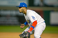 Rancho Cucamonga Quakes first baseman Cristian Santana (5) on defense against the Inland Empire 66ers at LoanMart Field on April 12, 2018 in Rancho Cucamonga, California. The 66ers defeated the Quakes 5-4.  (Donn Parris/Four Seam Images)