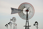 Second Wind Ranch windmill collection, including wooden and metal windmills, Comstock, Nebraska
