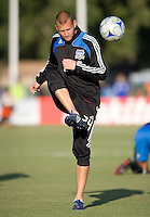 22 May 2008: Michael Gustavson of the Earthquakes warms up before the game against the Dynamo at Buck Shaw Stadium in San Jose, California.   San Jose Earthquakes defeated Houston Dynamo, 2-1.