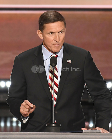 United States Army Lieutenant General Michael T. Flynn, retired, former director, Defense Intelligence Agency makes remarks at the 2016 Republican National Convention held at the Quicken Loans Arena in Cleveland, Ohio on Monday, July 18, 2016.<br /> Credit: Ron Sachs / CNP/MediaPunch<br /> (RESTRICTION: NO New York or New Jersey Newspapers or newspapers within a 75 mile radius of New York City)