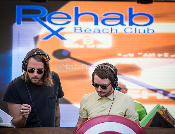 LAS VEGAS, NV - March 19, 2016: ***HOUSE COVERAGE*** Wooden Wisdom: Elijah Wood and Zach Cowie DJ set at REHAB Pool Party at Hard Rock Hotel & Casino in Las Vegas, NV on March 19, 2016. Credit: Erik Kabik Photography/ MediaPunch
