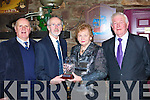 Farranfore Maine Valley Jerome Crowley presents George Walsh Farranfore family a crystal vase after he was inducted into their Hall of Fame at the Farranfore/Maine Valley AC awards night in the Anvil Bar, Boolteens on Friday night was l-r: Jim Lynch, Jerome Crowley, Mary Lynch, Billy Walsh   Copyright Kerry's Eye 2008