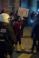 Ca. 90 Hooligans und Nazis beteiligten sich am Montag den 1. Februar 2016 im Berliner Stadtteil Prenzlauer Berg an einer NPD-Demonstration gegen Asyl und Fluechtlinge. Die aggressive Demonstration wurde von lautstarken Protesten mehrerer hundert Gegendemonstranten begleitet. Die Demonstrationsroute wurde auf Anweisung der Polizei um 2/3 gekuerzt.<br /> Im Bild: Protest gegen den Nazi-Aufzug.<br /> 1.2.2016, Berlin<br /> Copyright: Christian-Ditsch.de<br /> [Inhaltsveraendernde Manipulation des Fotos nur nach ausdruecklicher Genehmigung des Fotografen. Vereinbarungen ueber Abtretung von Persoenlichkeitsrechten/Model Release der abgebildeten Person/Personen liegen nicht vor. NO MODEL RELEASE! Nur fuer Redaktionelle Zwecke. Don't publish without copyright Christian-Ditsch.de, Veroeffentlichung nur mit Fotografennennung, sowie gegen Honorar, MwSt. und Beleg. Konto: I N G - D i B a, IBAN DE58500105175400192269, BIC INGDDEFFXXX, Kontakt: post@christian-ditsch.de<br /> Bei der Bearbeitung der Dateiinformationen darf die Urheberkennzeichnung in den EXIF- und  IPTC-Daten nicht entfernt werden, diese sind in digitalen Medien nach §95c UrhG rechtlich geschuetzt. Der Urhebervermerk wird gemaess §13 UrhG verlangt.]